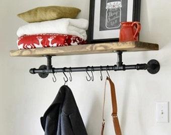 "Industrial 48"" Entryway Shelf.  Industrial Pipe Shelves.  Floating Shelving"