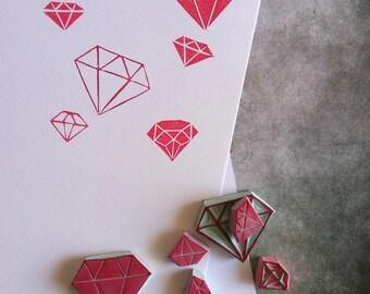 Diamond rubber stamp set