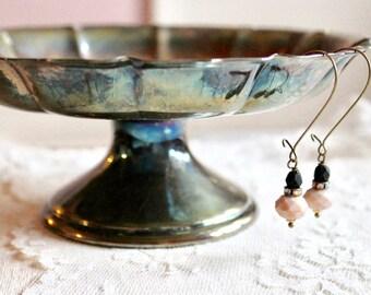 Matte black, rhinestone, and wheat / tan glass bead drop earrings, kidney wire earrings