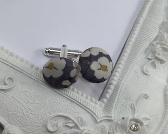 Liberty Mitsi dark - gray fabric cuff links man