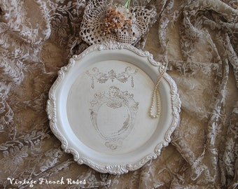 French Angel Swag Champagne Cream Metallic Round Serving Tray Vintage Romantic Wedding Shower French Country ShabbyChic Cottage Style