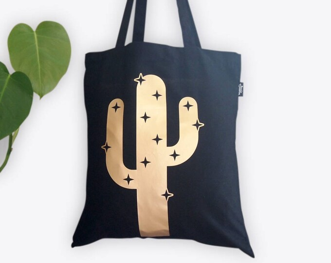 Featured listing image: Sparkly Cactus Gold Foil Tote Bag