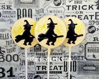 Witch on broomstick lollipops. Witch lollipops. witch treats. Halloween lollipops. halloween treats. halloween favors. Halloween party