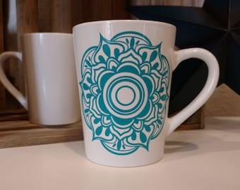 Mandala Design Coffee Mug // Coffee Mugs with Sayings // Personalized Ceramic Mugs // Tea Cup