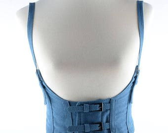 Classic denim waistband, waist corset belt with adjustable shoulder strap #BT17013