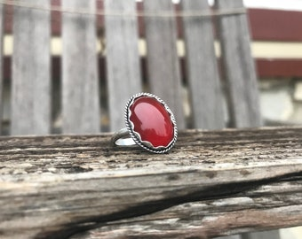 Sterling Silver Carnelian Ring, handmade bezel set cabochon, carnelian Statement Ring, carnelian Jewelry, gemstone Ring, Size 9