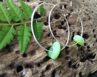 MERMAID TEARS...sea glass earrings ~ pretty hoops ~ wedding bridesmaid ~ beach theme ~ green aqua white