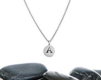 Tiny Initial Charm Necklace in Recycled Sterling Silver