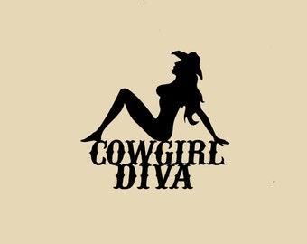 Cowgirl Diva, Metal Wall Art, Home Decor.