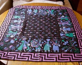 "Vintage Silvania Prints Scarf, Inca Art, Vilcabamba, 100% Pima Cotton, Made In Lima Peru, Handprinted, 34"" Square, Silvania Prints"