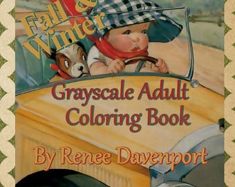 PDF of Tubby Tykes Fall and Winter Grayscale Adult Coloring Book Black White