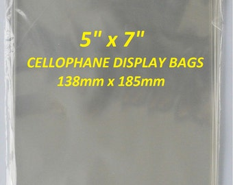 "5"" x 7"" Clear Cellophane Display Bags For Greeting Cards, Self Seal, Cello Bags"
