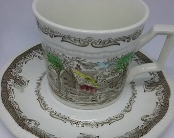 Kensington Staffordshire  Ironstone Cups and Saucers, Staffordshire English Ironstone Cups and Saucers, Vintage Ironstone English Cups