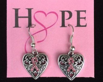 Breast Cancer Awareness Pink Ribbon Earrings * Handcrafted, Donation Included
