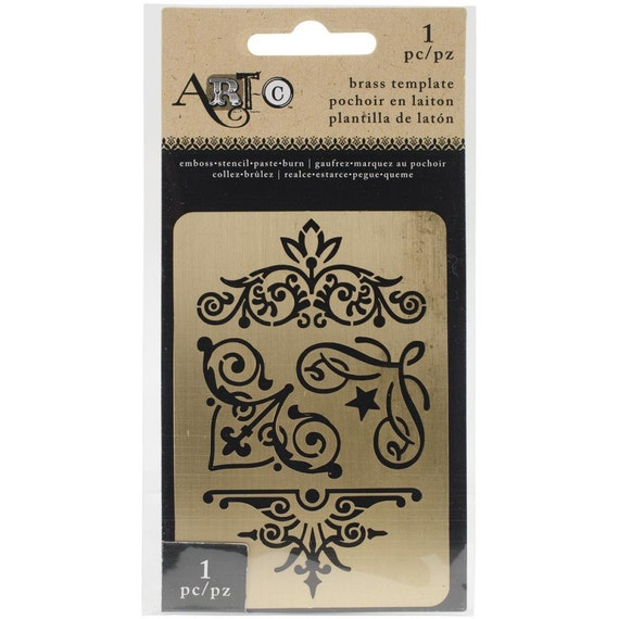 "Beautiful brass metal stencil / template photo Corners 3.8""X2.6"" perfect for your  art projects"