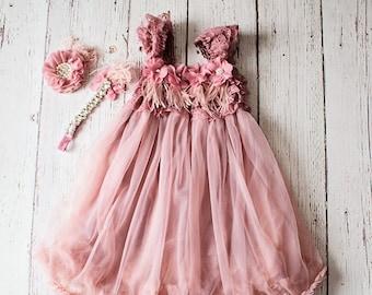 Flower Girl Dress, Rustic Lace Flower Girl Dress, Mauve Dress, baby Chiffon dress, Flower Girl Dresses, Toddler Dresses, Country Dress
