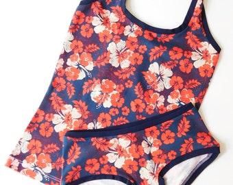 Organic Underwear, Halter Top and Panties, Organic Clothing, Top and Bottom, Hibiscus Underwear, Organic Cotton Lingerie Set, Hibiscus Panty