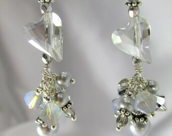 Swarovski Wild Heart Silver Shade Light Gray Earrings with Pearls on Sterling Silver