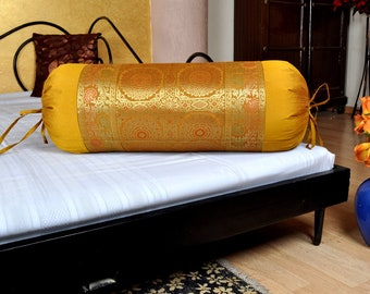 Golden Silk Brocade Mandala Sofa Seat Bolster Cover New