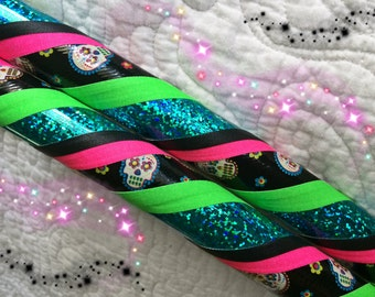 Sugar Skull Dance & Exercise Hula Hoop COLLAPSIBLE or Push Button - day  of the dead pink black green teal
