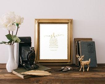 Nursery decor gold foil print, scripture art, wall art, Printable verses, Gold decor, Strength and dignity, Bible verses, Proverbs 31, 954