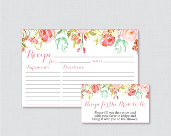 Pink Floral Bridal Shower Recipe Cards - Printable Flower Bridal Shower Recipe Card and Invitation Insert - Pink and Gold Recipe Cards 0004