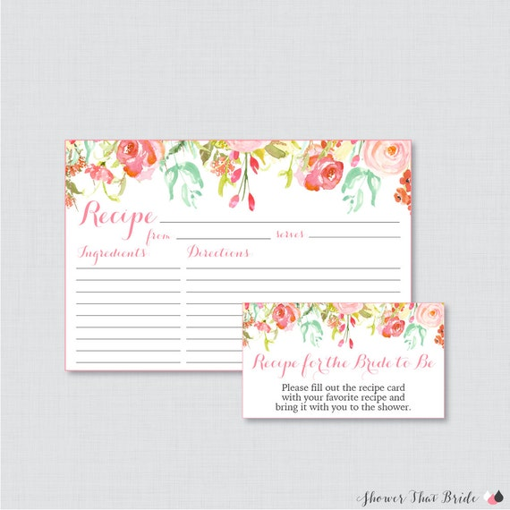 pink floral bridal shower recipe cards printable flower. Black Bedroom Furniture Sets. Home Design Ideas