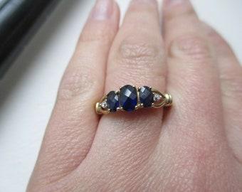 Vintage Sapphire Diamond 10k Yellow Gold Ring Size 7.5 Past Present Future