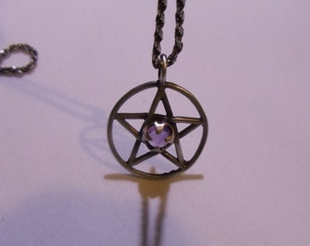 Vintage Sterling Silver Pentacle Necklace, Protection Harmony