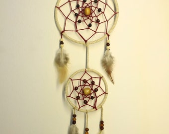 Double dream catcher handmade red and white