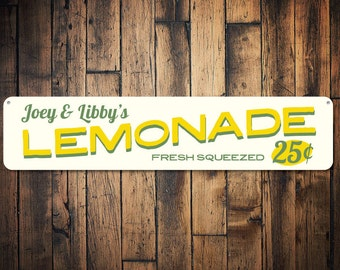 Lemonade Sign, Personalized Fresh Squeezed 25 Cents Kid Name Room Sign, Custom Lemonade Stand Playroom Sign - Quality Aluminum ENS1002064