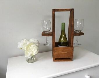 Rustic Wine Bottle Holder - Wooden Wine Holder - Wooden Wine and Glasses Holder - Reclaimed Wood Bottle Holder - Wooden Wine Glass Holder