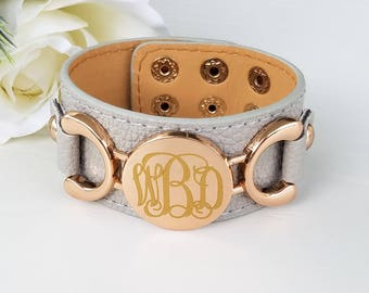 Personalized leather bracelet, monogram leather bracelet, monogrammed bracelet, personalized gift for her, bridesmaid gift, best friend gift
