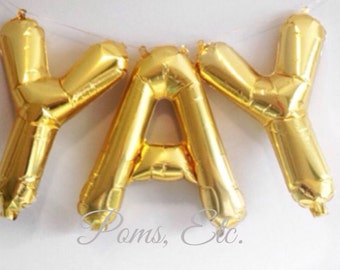 Custom letter/ create your own banner/ balloon word / word Balloon Banner / cheers / baby/ YAY gold  or silver mylar balloons 16""