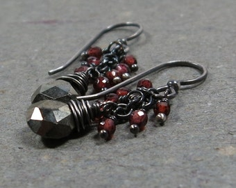 Pyrite Earrings Garnet Cluster Oxidized Sterling Silver January Birthstone Gift for Wife