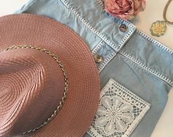 Crochet embellished boho denim skirt