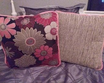 Set of 2 Raspberry, Silver, Black and Gray Pillows