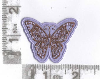 Purple butterfly with brown detail iron on patch
