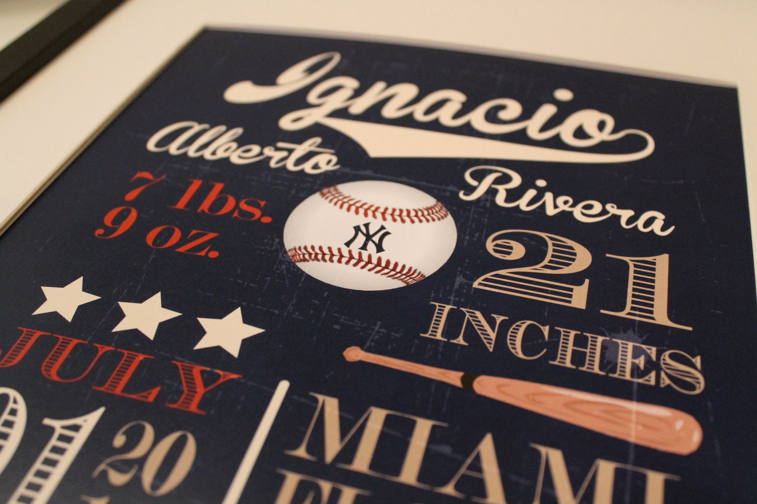 Customized Vintage Baseball Theme Nursery Print