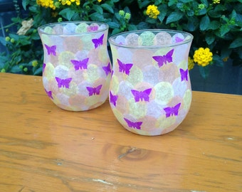 Purple Butterfly Candle Holders with Circle Design (Set of 2)