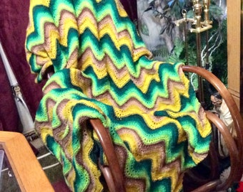 Hand made crocheted chevron afghan throw blanket