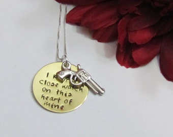 Johnny Cash Inspired- I keep a close watch  - Pistol Charm -       Sterling Silver Chain