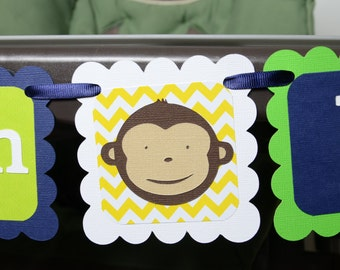 Monkey I am 1 Banner, Birthday Party, Monkey Theme,1st Year Party, Highchair Banner, Navy Blue, Yellow and Lime Green Banner