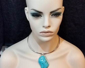 Chocker necklace, turquoise choker necklace, bold necklace, gift for her, birthday gift, unique necklace