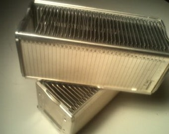 2  AIREQUIPT Vintage Automatic 35mm Slide Changer Magazine With Slide Holders 1950's Midcentury
