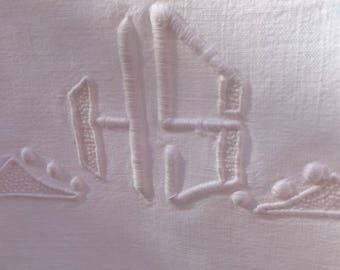 Linen sheet, monogrammed dowry sheet from France in linen with initials HS