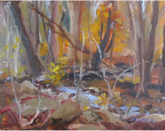 Storm Approaching on Fall Day - Oil Painting at a Stream in Mendham, NJ