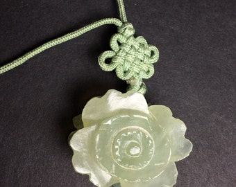 Vintage Carved Natural Jade Flower Necklace with Jade Accents on Silk Cord