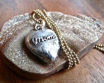 MOM Love- Wax Seal Talisman, Victorian Heart Sterling Pendant, Honor Your Mom, Your Daily  Jewels