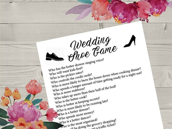 Wedding Shoe Printable Game Wedding Shoe Game Questions